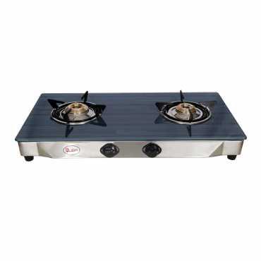 Quba S2 Blue Line Rectangle Glass Auto Ignition Gas Cooktop (2 Burners) - Blue