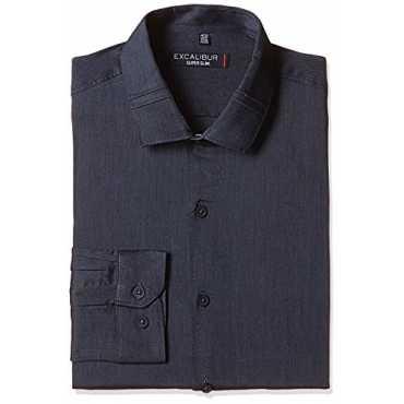 Excalibur Men's Formal Shirt (8907542394463_400016280104_39_Charcoal)