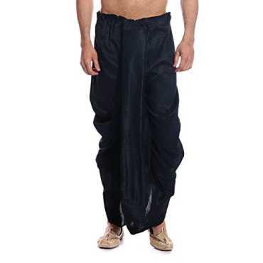 Men's Silk Blend Dhotis (DH05_Black_Free Size)
