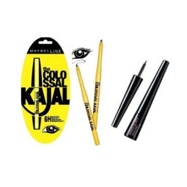 Maybelline Combo Kajal and Hyper Glossy Liquid Eye Liner (Black) (Set of 2) - Black