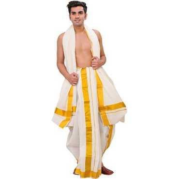 Men s Snow-White Dhoti and Veshti Set from Kerala with Wide Golde