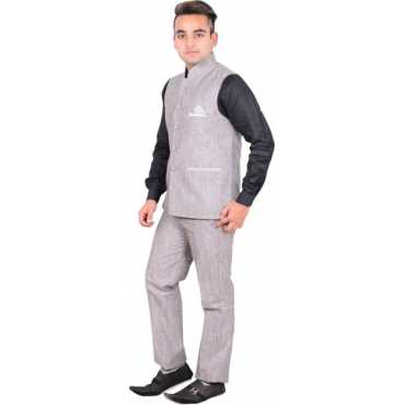 Shaurya-F Bandgala Solid Men s Suit