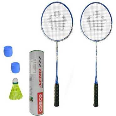 Cosco CBX-400 Badminton Kit 2 Racket 2 Grip and Aero 777 Nylon Shuttle Cock Pack of 6 Combo