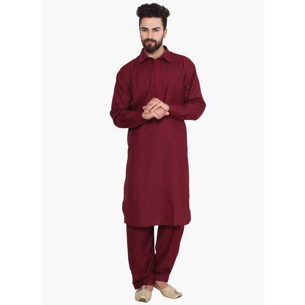 Sojanya Maroon Solid Kurta Pyjama