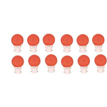 Philips 0.5W B22 Standard LED Bulb (Red, Pack Of 12) - Red
