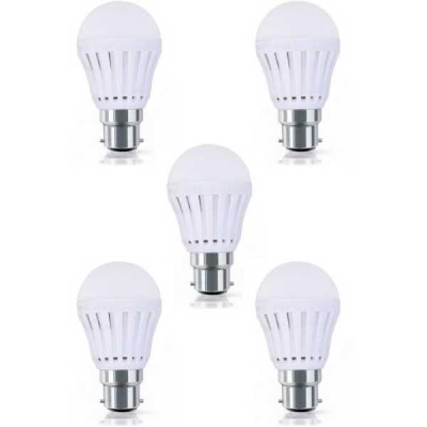 Digilight 9W Plastic Body White LED Bulb (Pack Of 5) - White