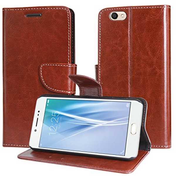 DMG Vivo V5 Flip Cover Sturdy PU Leather Wallet Book Cover Case for Vivo V5 Brown