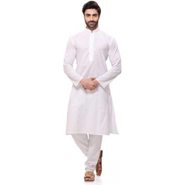Romano Men Cotton White Kurta Pyjamas