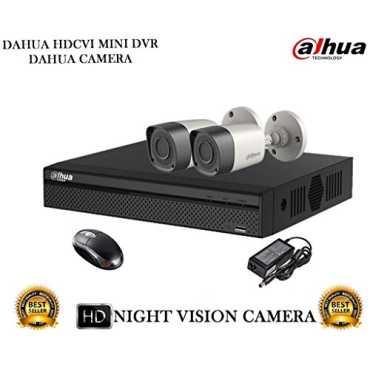 Dahua DH-HCVR4104HS-S2 4CH Dvr, 2(DH-HAC-HFW1000RP-0360B) Bullet Camera (With Mouse)
