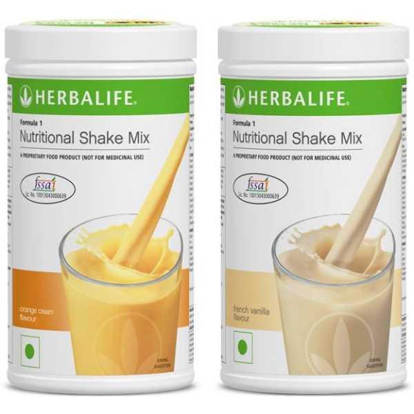 Herbalife Combo Of Nutritional Shake Mix (500gm Each, French Vanilla And Orange Cream) - Orange