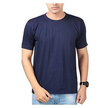 Tripr Solid Men s Round Neck Dark Blue T-Shirt