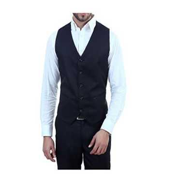 ManQ Men's V.Neck Five Button Slim Fit Formal/Party Waist coat