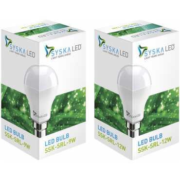 Syska SSK-SRL 9 W, 12 W 6500K Cool Day Light LED Bulb (White, Pack of 2) - White