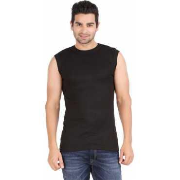 Solid Men s Round Neck Black T-Shirt