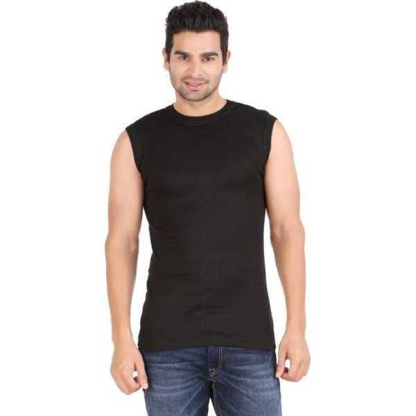 Solid Men's Round Neck Black T-Shirt