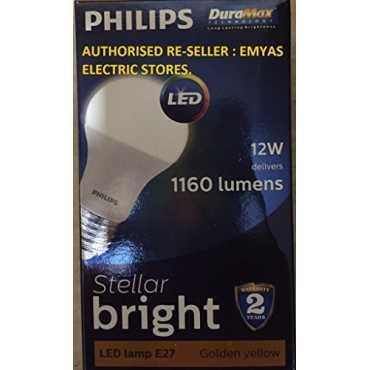 Philips Stellar Bright 12W 1160L E27 LED Bulb (Golden Yellow, Pack of 12) - White
