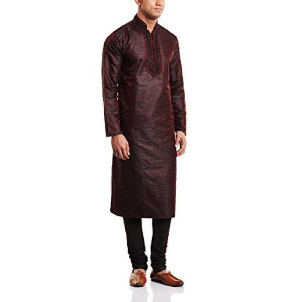 Peter England Men's Cotton Kurta Pyjama with Waist Coat (8903994479369_POWL5130081_Maroon_92)