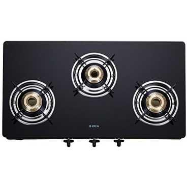 Elica 703 CT Vetro Glass Top Manual Gas Cooktop (3 Burners) - Steel   Black   Silver