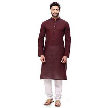 Rg Designers Men s Cotton Kurta Pyjama Set HandloomBrownKurta46_Brown_XXX-Large