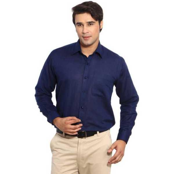 Hanu Men's Solid Formal Blue Shirt