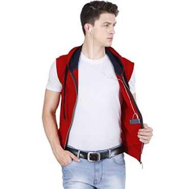 Hooded Cotton Red Zipper Jacket Sleeveless T Shirt for Men S