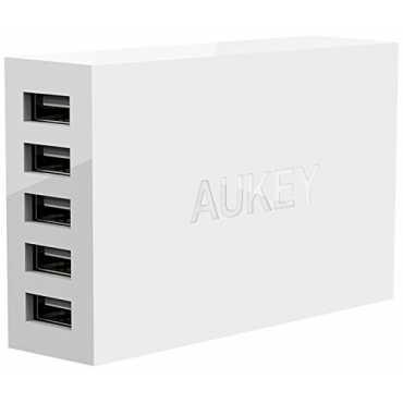 Aukey PA-U13 5-Port (40W / 8A) USB Wall Charger - White   Black