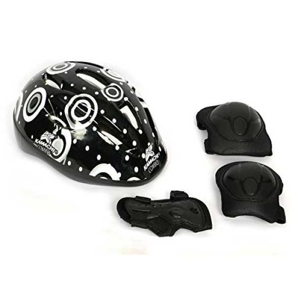 Kamachi  Skating/Cycling Protection Equipment Set (with Helmet PE-44) (Medium) - Black