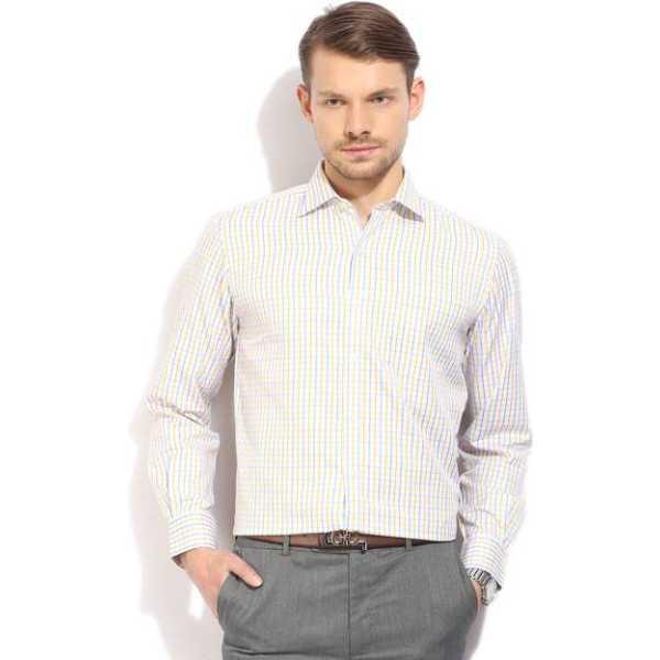 Men's Checkered Formal White Shirt