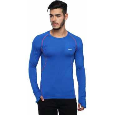 Solid Men Round Neck Blue T-Shirt