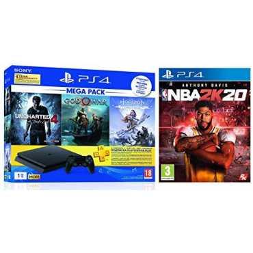Sony PS4 1 TB Slim Console (God of War, Uncharted 4, Horizon Zero Dawn & NBA 2K20)
