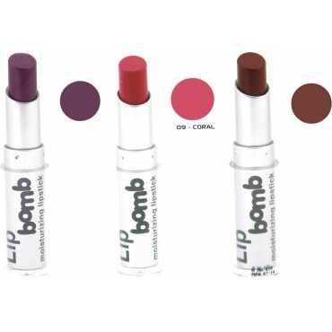 Color Fever Lip Bomb Matte Lipstick 5-2-9 (Tan, Plum, Coral) (Set of 3)
