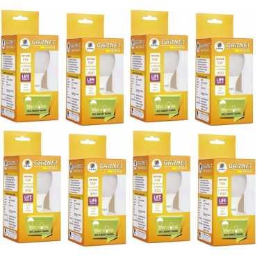 Wipro Garnet 5W Standard E27 LED Bulb (White, Pack of 08) - White