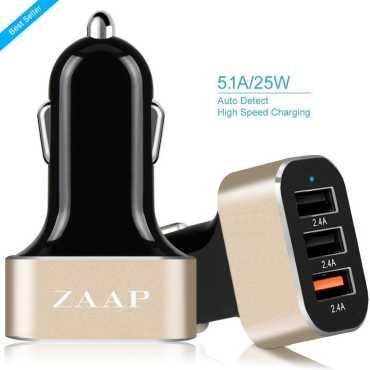 Zaap ZAAP3UC-216 25W/ 2.4A 3-Port USB Car Charger - Gold   Black