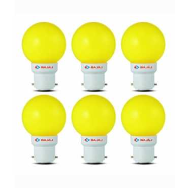 Bajaj 0.5W LED Bulbs (Yellow, Pack of 6) - Yellow