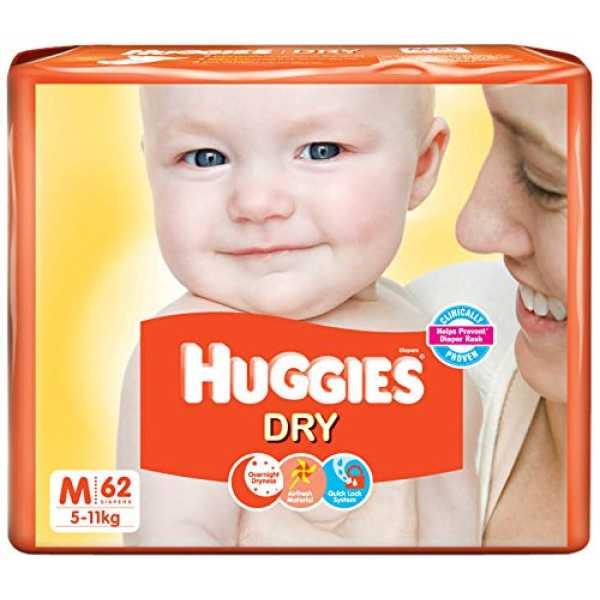 Huggies Dry Diapers Medium (62 Pieces)