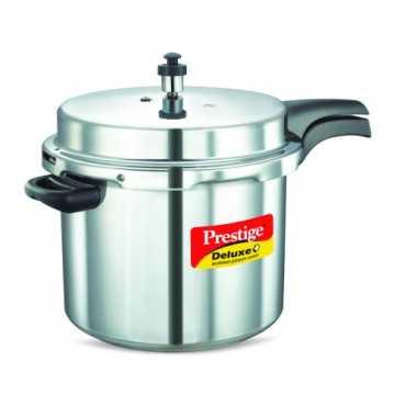 Prestige Deluxe Plus Aluminium 10 L Pressure Cooker (Induction Bottom, Inner Lid)  - Black | Silver