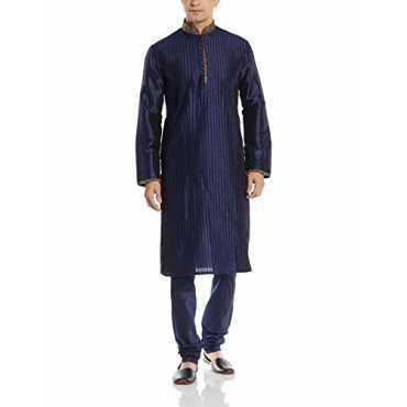 Manyavar Men's Silk Kurta Churidar (8903035280336 _S952358-306-XL_Blue)