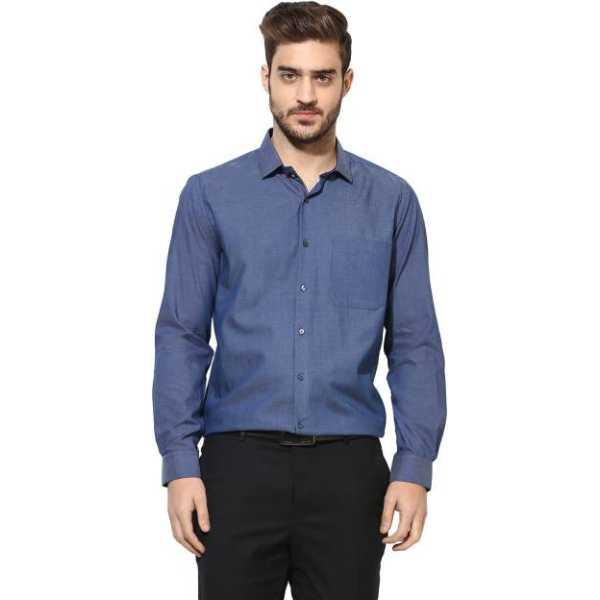 Men's Solid Formal Dark Blue Shirt
