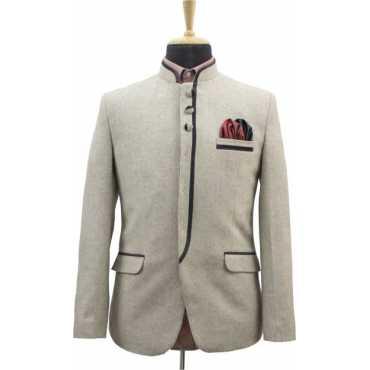 Harringbone Mandarin Casual, Wedding, Festive, Formal, Party Men's Blazer