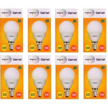 Wipro Garnet 3W Standard E14 270L LED Bulb (Yellow,Pack of 8) - Yellow