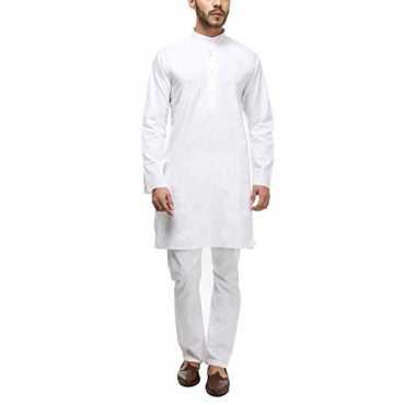 Kurta Mens White 100%Cotton Kurta Pyjama Set