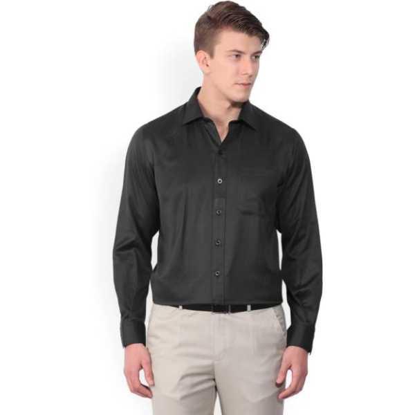 Men's Self Design Formal Black Shirt