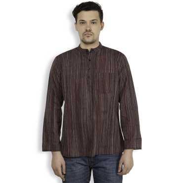 Black Cotton Striped Mens Short Kurta