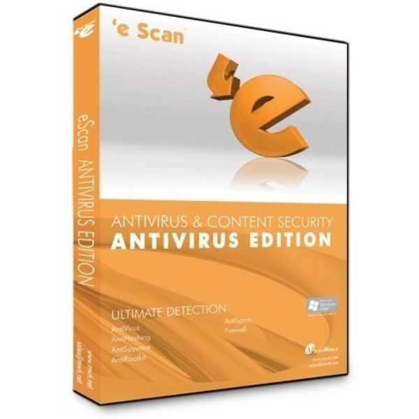 eScan AntiVirus & Content Security 2013 4PC 1Year