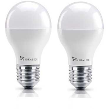 Syska 9W E27 Round LED Bulb (Yellow, Pack of 2) - Yellow | White