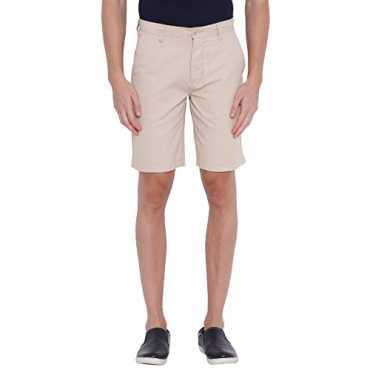 Khaki Cotton Solid Men's Shorts (32, Stone)