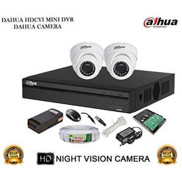 Dahua DH-HCVR4104HS-S2 4CH Dvr, 2(DH-HAC-HDW1000RP) Dome Cameras (With Accessories, 1TB HDD)