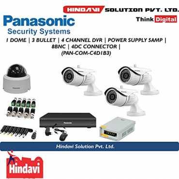 Panasonic Hl1104K 4Ch DVR, 1(HFN103L) Dome Camera, 3(HPN103L) Bullet Camera (With Power Supply,Connectors)