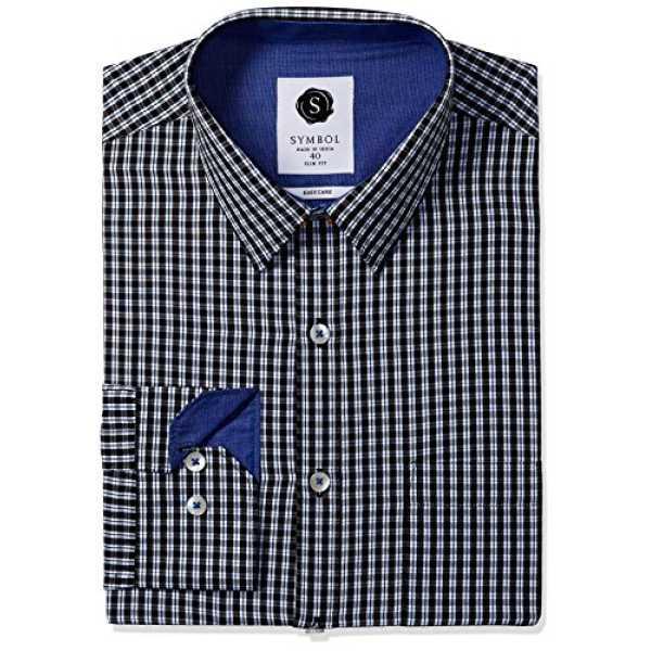 Symbol Men's Formal Checks Slim Fit Shirt (SYMCH2DES101_42_Black)