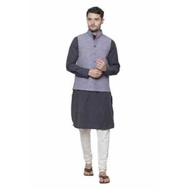 Khadi Blue Chinese Collar Waistcoat for Men